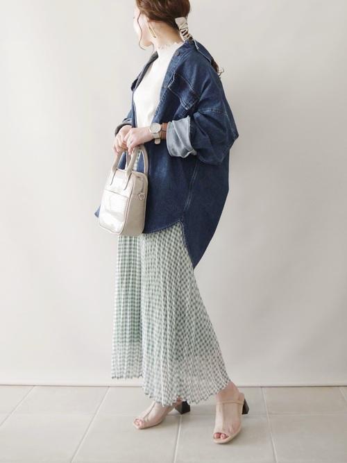 GUのギンガムチェックプリーツスカート