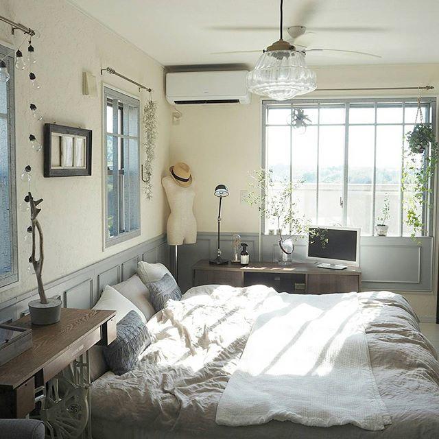 グレー ナチュラルインテリア 寝室4