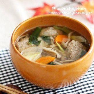 イワシ、つみれ、ネギ、小松菜、シメジ、人参、スープ。