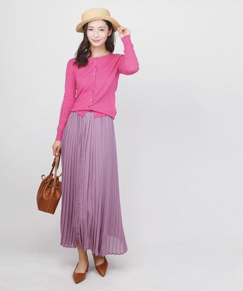 ピンクカーディガン×紫スカート
