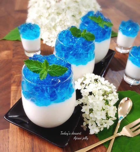 おしゃれなブルー♪二色の紫陽花ゼリーレシピ