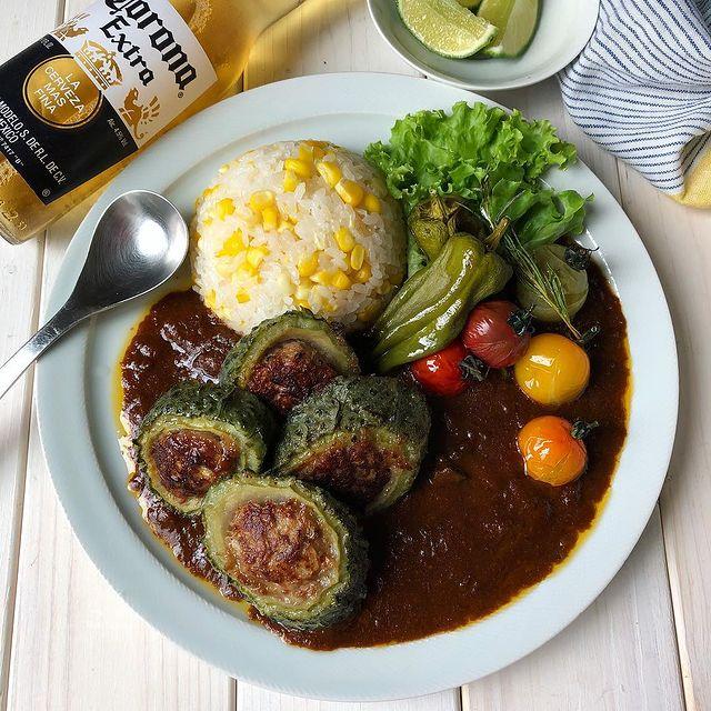 人気レシピ!ゴーヤの肉詰めカレー