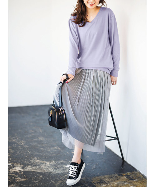 プリーツチュールロングスカート