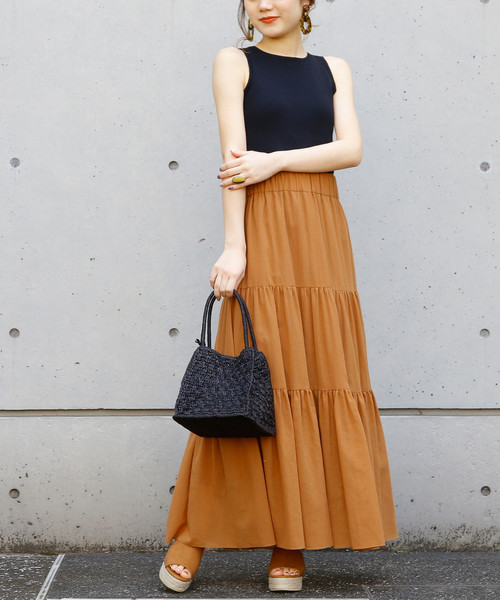 [Liesse] コットンシフォンティアードロングスカート