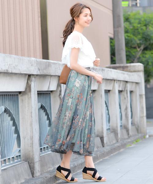 フロントリボン花柄シフォングラデーションマキシ丈フレアスカート