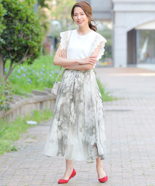 [Grandeir] フロントリボン花柄シフォングラデーションマキシ丈フレアスカート