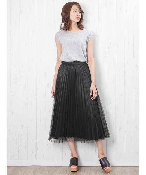 [mili an deni] チュールサテンプリーツスカート