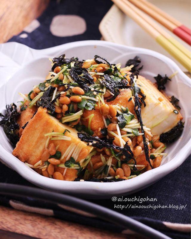 お酒に合う副菜!厚揚げの薬味納豆和えレシピ