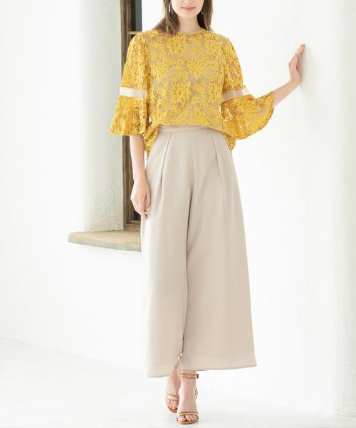 [GIRL] フラワーレース袖コンシャスブラウス&ワイドパンツのセットアップ結婚式パンツドレス・お呼ばれパーティードレス