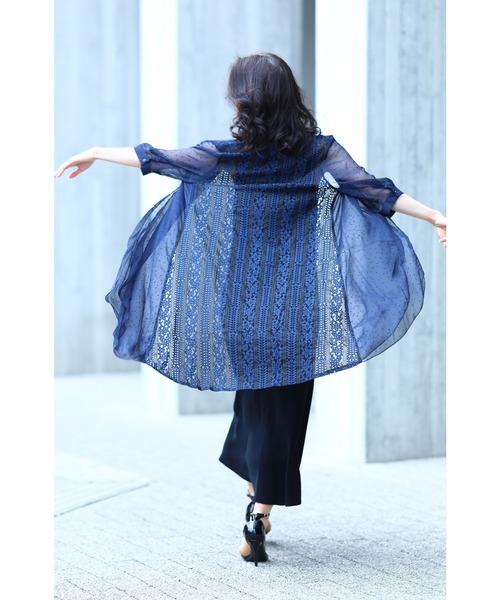 [FRENCH PAVE] 風に流れる美ライン。見惚れるバックレースの羽織りカーディガン