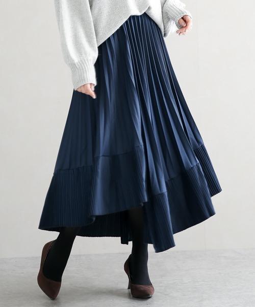 【La-gemme】切替フリルプリーツスカート