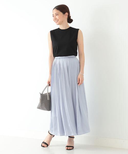 [BEAMS WOMEN] Demi-Luxe BEAMS / ロイヤルサテン プリーツスカート