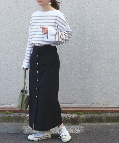 フロントボタン リネンタイトスカート