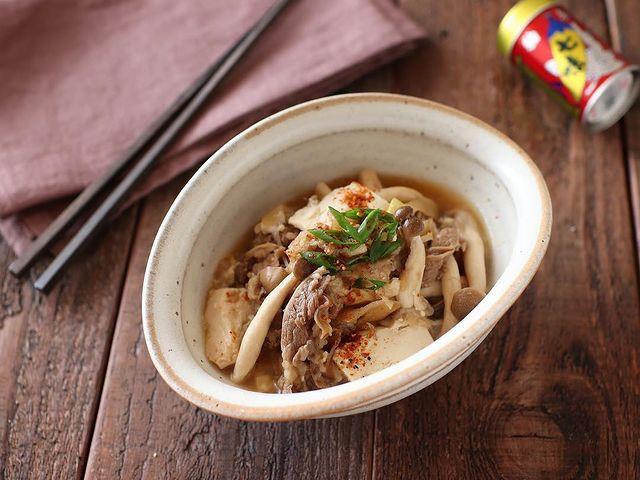 木綿豆腐でヘルシーな一品♪牛豆腐皿レシピ