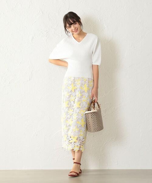 [CAST:] カラーレースタイトスカート