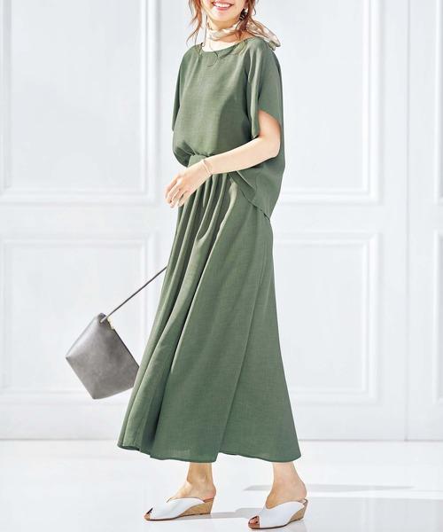 [GeeRA] 【2点セット】リネン調ブラウス&スカート
