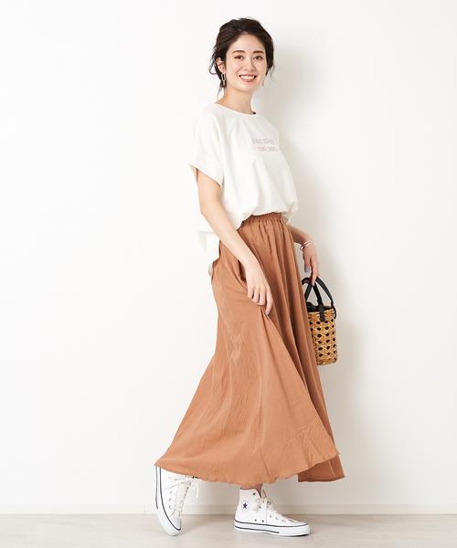 [Abahouse Devinette] ecru コットンシフォンマキシスカート