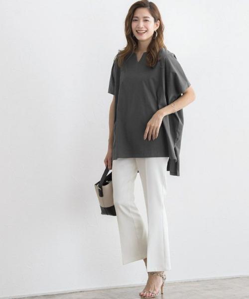 [Pierrot] キーネックオーバーTシャツ
