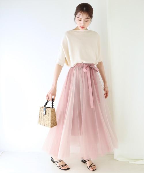 [BLUEEAST] グラデーションボリュームチュールスカート②