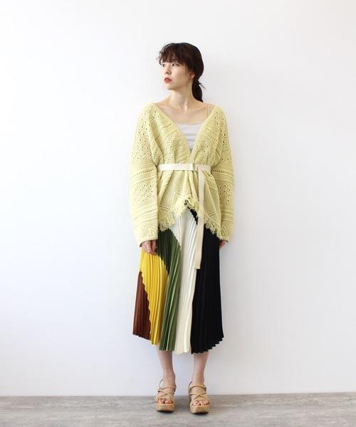 [DRESSLAVE] cotton tapeyarn fringe cardigan(ベルト付きコットンレースフリンジカーディガン)