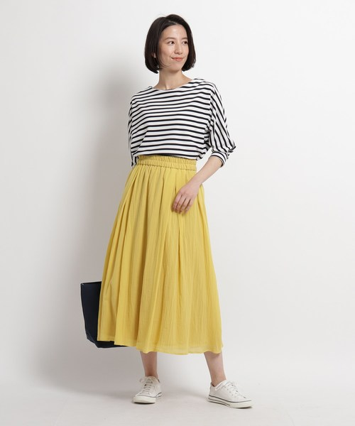 [WORLD ONLINE STORE SELECT] 【XS~Mサイズあり・洗える】コットンシフォンロングスカート