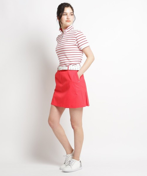 [adabat] 【吸水速乾/UVカット】ボーダーハーフジップ半袖ポロシャツ