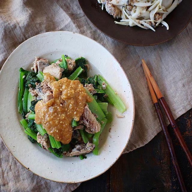 鯖缶と小松菜の酢味噌かけ