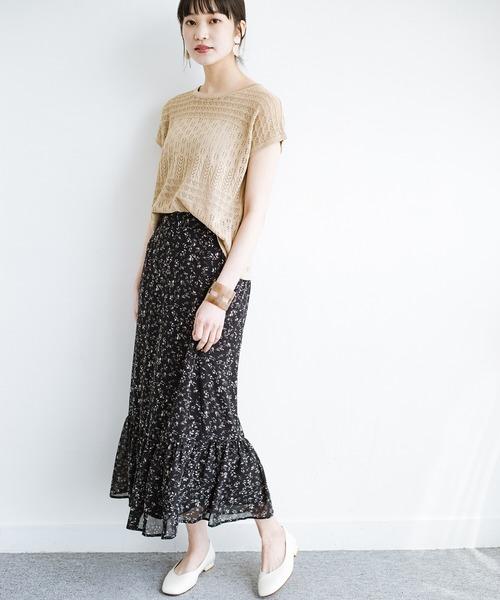 [haco!] ふわっと揺れる裾にきゅん!とろみシフォンの大人可愛い花柄スカート
