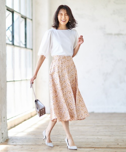 [tocco closet] フラワーシフォン切替フレアースカート