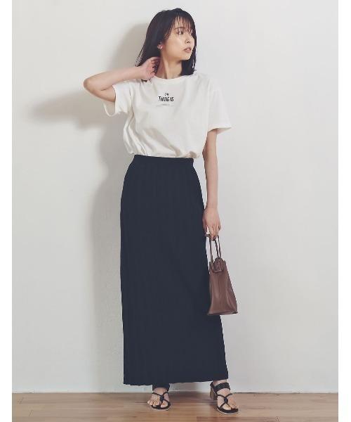 [Re:EDIT] [涼感][サステナブル][お家で洗える]オーガニックコットンバックスリットナロースカート