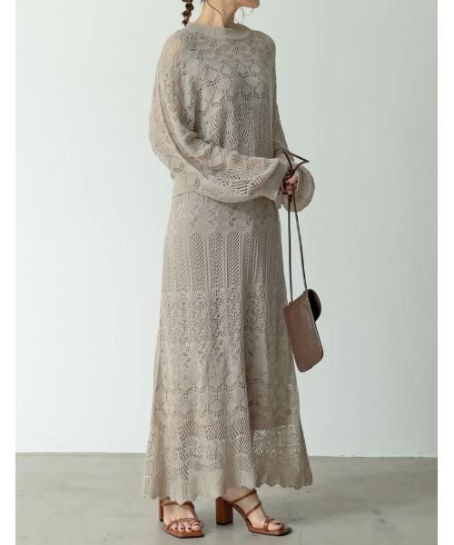 かぎ編みナローロングニットスカート
