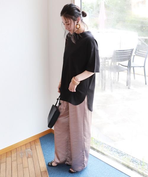 [and Me(アンドミー)] USAコットン半袖オーバーサイズ裾ラウンドTシャツ