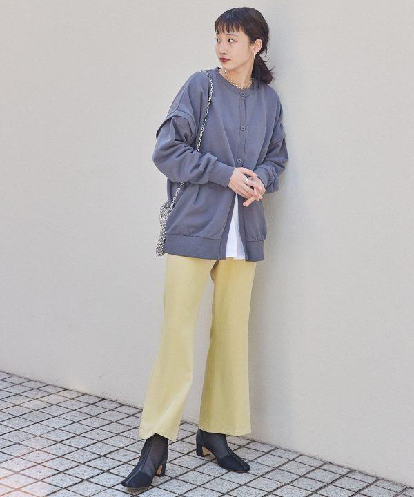 【BASQUE magenta】センタープレスカラーフレアスラックスパンツ