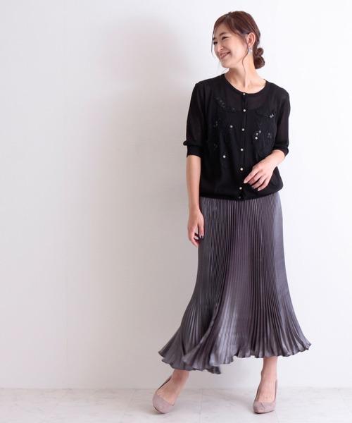 [Sawa a la mode] 上品なビジュー付き花柄刺繍カーディガン