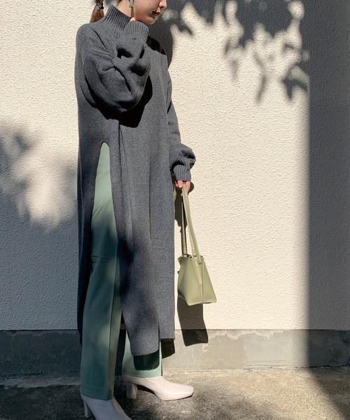 [LAVEANGE] [新作]サイドスリット ニットワンピース