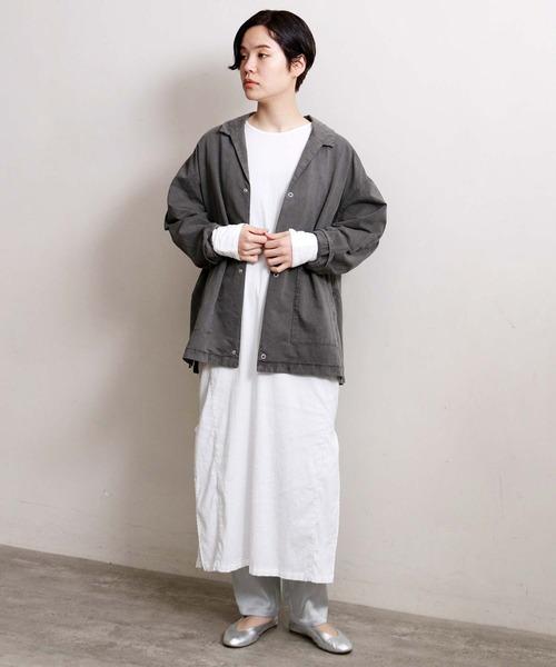 [note et silence] ヨコ朱子ピグメント染めシャツジャケット