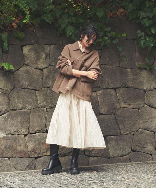 [Mila Owen] タックスカートドッキングシャツワンピース