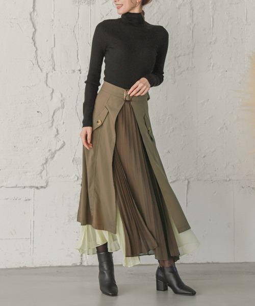 【La-gemme】プリーツレイヤードスカート