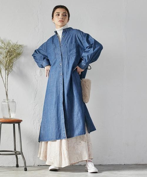 [ViS] 【Daily use】デニムバンドカラーシャツワンピース<WEB限定>