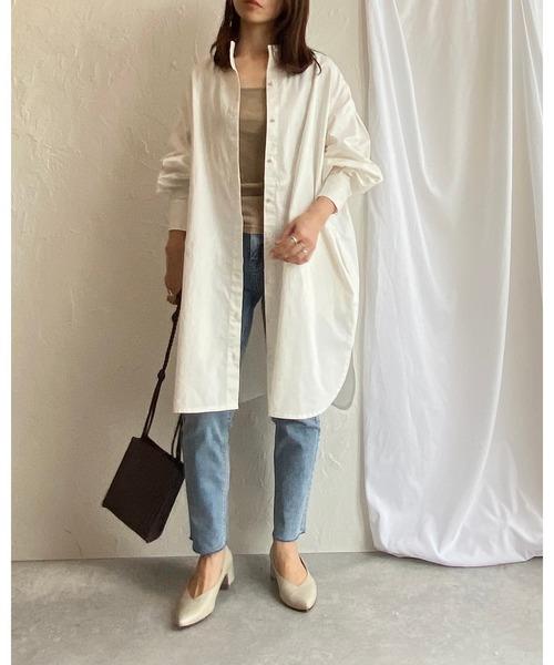 [wears] スタンドカラー オーバーサイズ 切り替え 無地 長袖 ドレス シャツ ワンピース