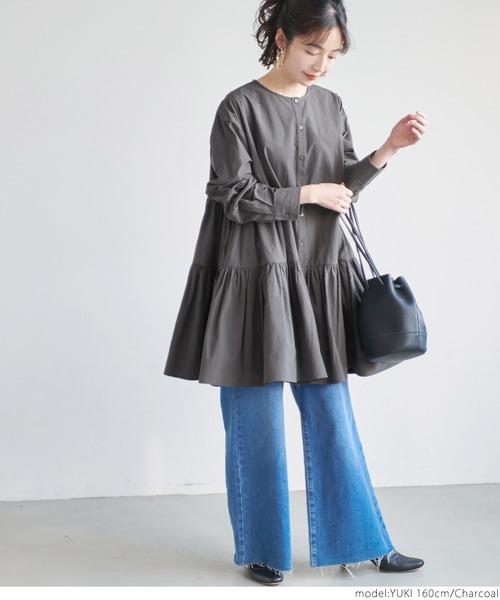 [coca] ギャザーフレアチュニックノーカラーシャツ