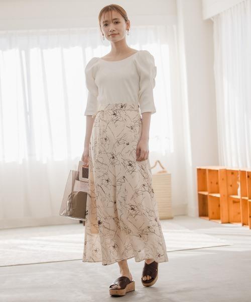 線描きフラワースカート 930417