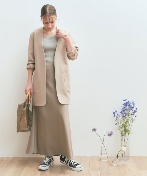 [titivate] ストラップ付きサテンナロースカート