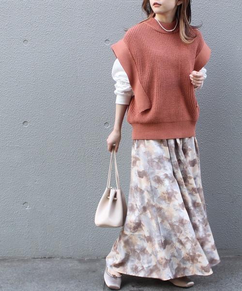 [LAVEANGE] [洗える]ぼかしタイダイ柄フレアロングスカート【大きいサイズ対応】