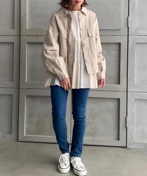 [moment+] コットンチノツイル/デニム ショートシャツジャケット 2