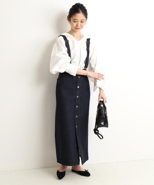 [IENA] 【Lee /リー】SLOBE別注 サスペンダー付きスカート【手洗い可】◆