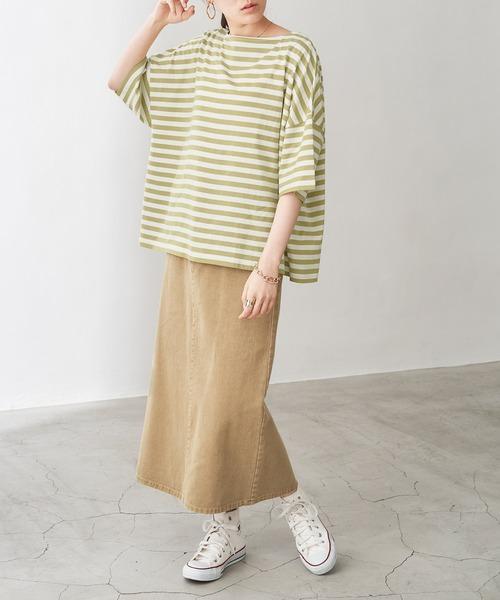 [Chaco closet] オーバーサイズ バスクボーダー半袖Tシャツ