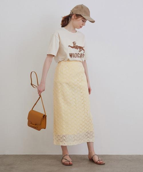 [ROPE'] フレンチフラワーレースタイトスカート
