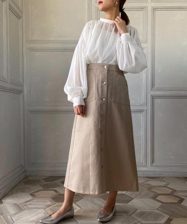 【moment+】カラーヘビーツイル&デニムベイカーロングフレアスカート