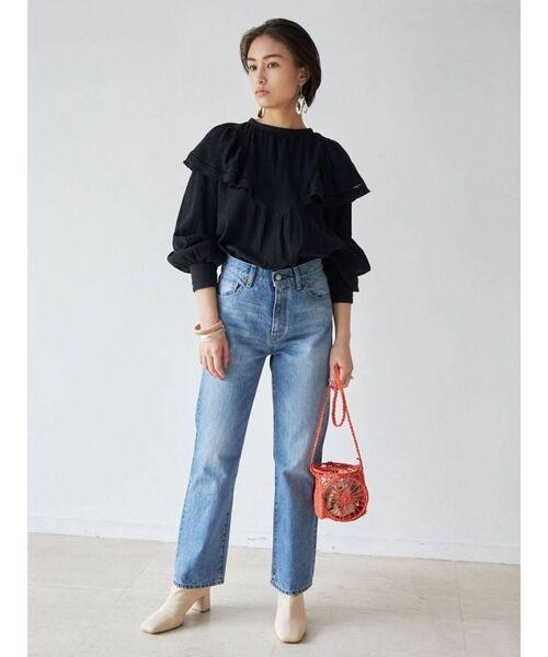 [Ungrid] コットンフリルボリュームブラウス(ビックカラーシャツ)